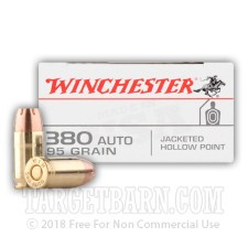 Winchester 380 ACP Ammunition - 500 Rounds of 95 Grain JHP