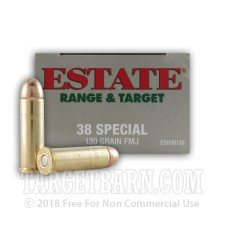 Estate Range & Target 38 Special Ammunition - 1000 Rounds of 130 Grain FMJ
