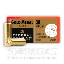 Federal Gold Medal Wadcutter 38 Special Ammunition - 50 Rounds of 148 Grain WC