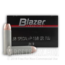 Blazer 38 Special Ammunition - 50 Rounds of +P 158 Grain FMJ
