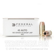 Federal 45 ACP Ammunition - 50 Rounds of  185 Grain High-Shok JHP