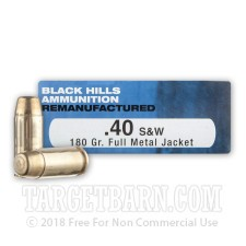 Black Hills Remanufactured 40 S&W Ammunition - 50 Rounds of 180 Grain FMJ