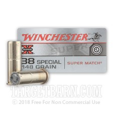 Winchester Super-X 38 Special Ammunition - 50 Rounds of 148 Grain Super Match