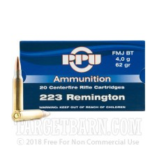 Prvi Partizan 223 Remington Ammunition - 20 Rounds of 62 Grain FMJ BT