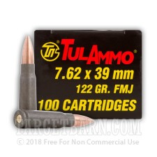 Tula Cartridge Works 7.62x39 Ammunition - 1000 Rounds of 122 Grain FMJ