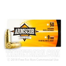 Armscor Precision 9mm Luger Ammunition - 1000 Rounds of 124 Grain FMJ