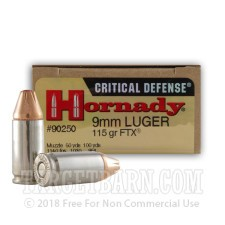 Hornady Critical Defense 9mm Luger Ammunition - 25 Rounds of 115 Grain FTX