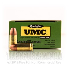 Remington UMC 9mm Luger Ammunition - 50 Rounds of 147 Grain FNEB