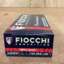 Fiocchi 9mm Luger Ammunition - 1000 Rounds of 124 Grain JHP