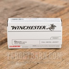 Winchester 9mm Luger Ammunition - 50 Rounds of 124 Grain FMJ