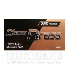 Blazer Brass Value Pack 380 ACP Ammunition - 250 Rounds of 95 Grain FMJ