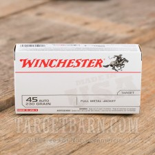 Winchester Target 45 ACP Ammunition - 50 Rounds of 230 Grain FMJ