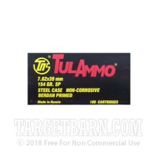 Tula 7.62x39 Ammunition - 100 Rounds of 154 Grain SP