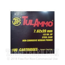 Tula Cartridge Works 7.62x39mm Ammunition - 100 Rounds of 122 Grain HP