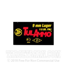 Tula 9mm Luger Ammunition - 100 Rounds of 115 Grain FMJ