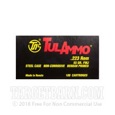 Tula 223 Remington Ammunition - 100 Rounds Rounds of 55 Grain FMJ