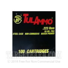 Tula 223 Remington Ammunition - 1000 Rounds of 55 Grain FMJ