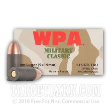Wolf WPA Military Classic 9mm Luger Ammunition - 50 Rounds of 115 Grain FMJ