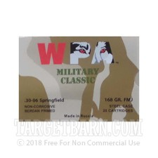 WPA Military Classic 30-06 Ammunition - 500 Rounds of 168 Grain FMJ