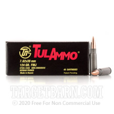 Tula 7.62x39 Ammunition - 1000 Rounds of 122 Grain FMJ