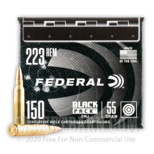 Federal Black Pack 223 Rem Ammunition - 600 Rounds of 55 Grain FMJ