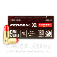 Federal Syntech PCC 9mm Ammunition - 50 Rounds of 130 Grain Total Synthetic Jacket