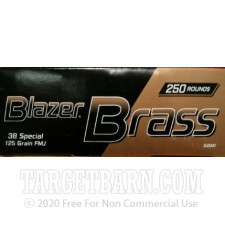 CCI Blazer Brass 38 Special Ammunition - 250 Rounds of 125 Grain FMJ