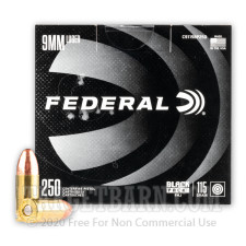 Federal Black Pack 9mm Ammunition - 1000 Rounds of 115 Grain FMJ