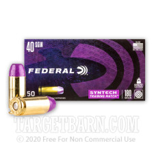Federal Syntech Training Match 40 S&W Ammunition - 50 Rounds of 180 Grain Total Synthetic Jacket FN