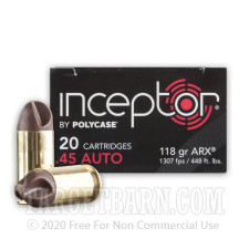 Inceptor 45 ACP Ammunition - 20 Rounds of 118 Grain ARX