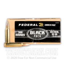 FEDERAL AMERICAN EAGLE BLACK 223 REMINGTON AMMUNITION - 300 ROUNDS OF 55 GRAIN FMJBT