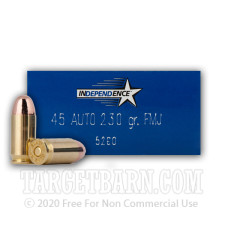 Independence 45 ACP Ammunition - 50 Rounds of 230 Grain FMJ