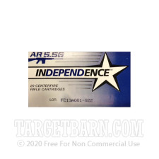 Independence 5.56 NATO Ammunition - 500 Rounds of 55 Grain FMJ-BT