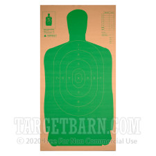 B27 Green Silhouette Cardboard Practice Target - Law Enforcement / Self-Defense - Champion - 25 Count