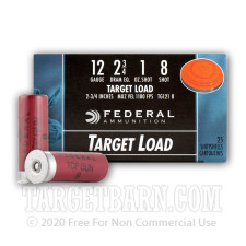 "Federal Target Load 12 Gauge Ammunition - 25 Rounds of 2-3/4"" 1 oz. #8 Shot"