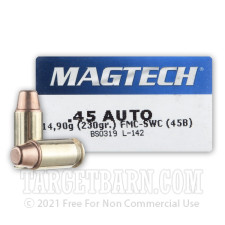 Magtech 45 ACP Ammunition - 50 Rounds of 230 Grain FMC-SWC