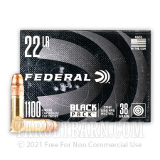 Federal Black Pack 22 LR Ammunition - 1100 Rounds of 38 Grain CPHP