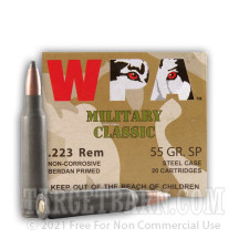 Wolf WPA Military Classic 223 Remington Ammunition - 20 Rounds of 55 Grain SP
