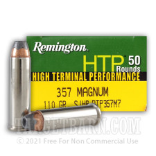 Remington HTP 357 Magnum Ammunition - 50 Rounds of 110 Grain SJHP
