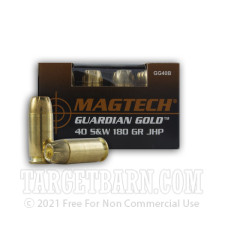 Magtech Guardian Gold 40 S&W Ammunition - 20 Rounds of 180 Grain JHP