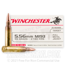 Winchester USA 5.56x45 Ammunition - 1000 Rounds of 55 Grain FMJ M193