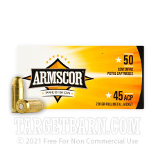 Armscor Precision 45 ACP Ammunition - 50 Rounds of 230 Grain FMJ