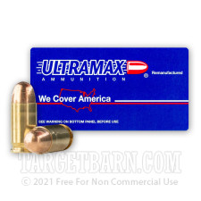 Ultramax Remanufactured 380 ACP Ammunition - 50 Rounds of 95 Grain FMJ