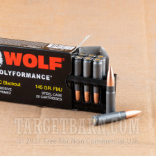 Wolf 300 AAC Blackout Ammunition - 500 Rounds of 145 Grain FMJ