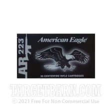 Federal American Eagle 223 Remington Ammunition - 500 Rounds of 55 Grain FMJ-BT
