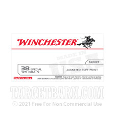 Winchester 38 Special Ammunition - 50 Rounds of 125 Grain JSP