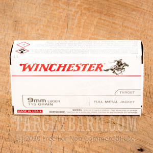 Winchester Target 9mm Luger Ammunition - 500 Rounds of 115 Grain FMJ