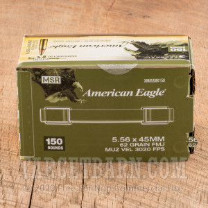 Federal American Eagle 5.56 NATO Ammunition - 150 Rounds of 62 Grain FMJ