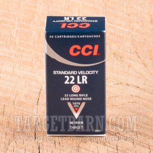 CCI Standard Velocity 22 LR Ammunition - 5000 Rounds of 40 Grain LRN