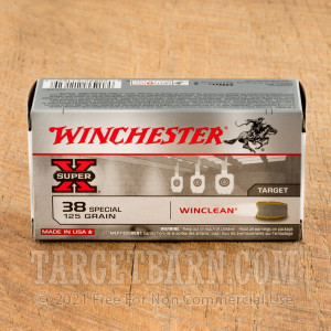 Winchester Winclean 38 Special Ammunition - 50 Rounds of 125 Grain JSP